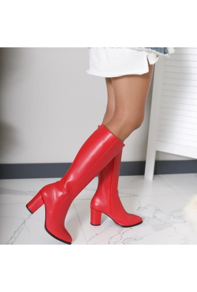 Limoya Tatum Kırmızı Sivri Burunlu Orta Topuklu Çizme