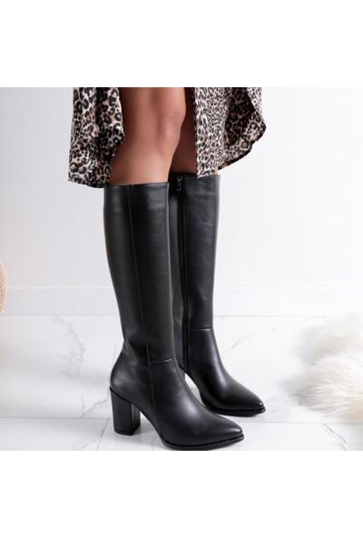 Limoya Tatum Siyah Sivri Burunlu Orta Topuklu Çizme