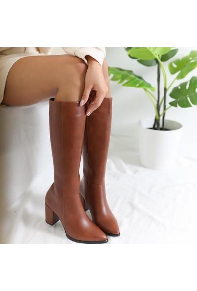 Limoya Ellie Taba Sivri Burunlu Orta Topuklu Çizme