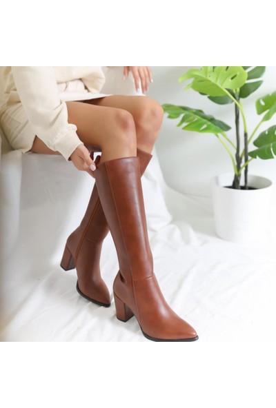 Limoya Tatum Taba Sivri Burunlu Orta Topuklu Çizme
