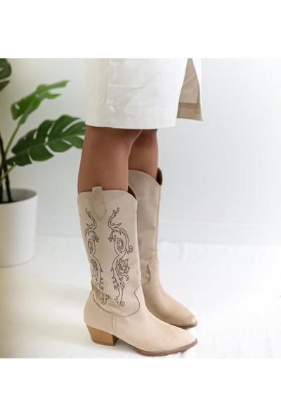 Limoya Erin Ten Lazer İşlemeli Western Çizme