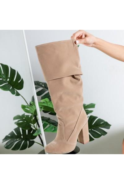Limoya Piper Ten Süet Dizaltı Çizme