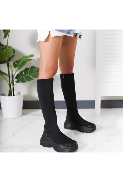 Limoya Tessa Siyah Dalgıç Kumaş Kalın Tabanlı Dizaltı Çizme
