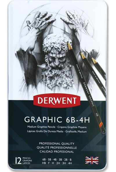 Derwent Graphic Dereceli Kalem Seti Medium (Karakalem Eskiz Çizim Seti) (Designer) 12'li Teneke Kutu