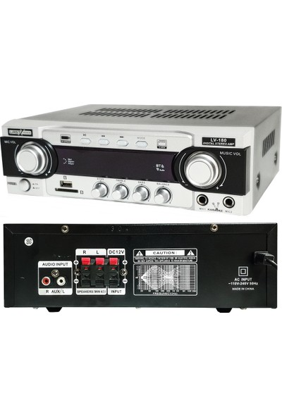 Lastvoice LV-180 Stereo Mikser Amfi 2X80 Watt Ekho Bluetooth USB 12V/220V