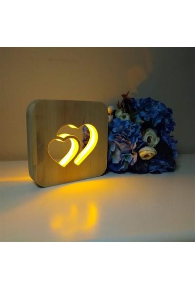 Ahşap 2 Kalp LED Masa Üstü Gece Lambası