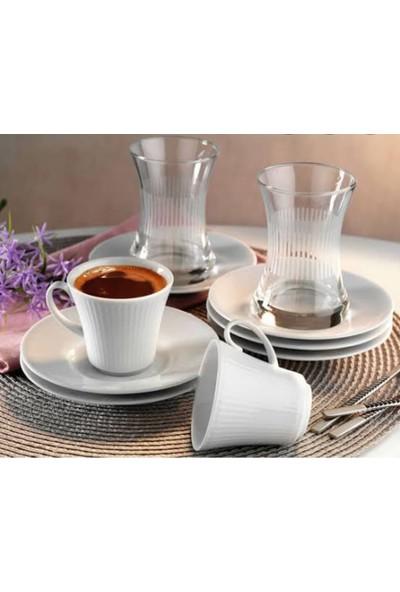 Kütahya Porselen 18 Parça Adler Çay & Kahve Fincanı