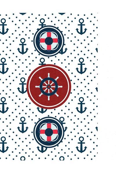 Halımax Cino Antialerjik Çocuk Halısı Denizci Çapa Desen Mavi Beyaz