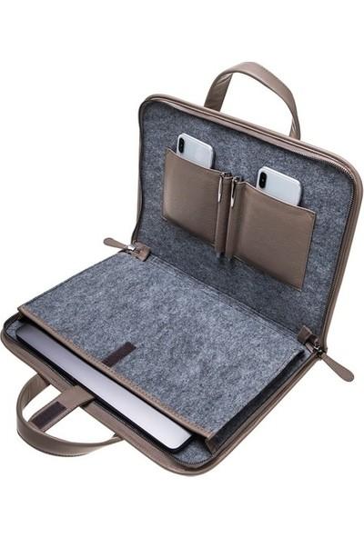 Barchello Pergamon Deri Notebook Evrak Çantası - Vizon