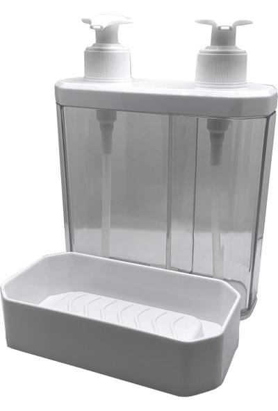 Twin Banyo Mutfak Sıvı Sabunluk ve Süngerlik 2'li