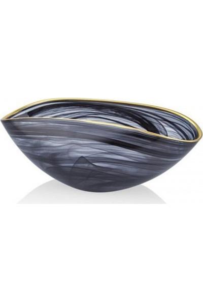 Cemile Siyah Altın Rim Cam Meyve Tabağı 28 cm