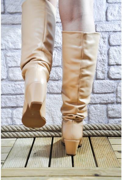 Noa Shoes Kadın Deri Çizme Bilekten Büzgülü Ten Topuklu Bot