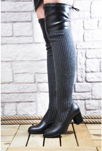 Noa Shoes Siyah Streç Çizme Deri Kumaş Topuklu Kadın Bot