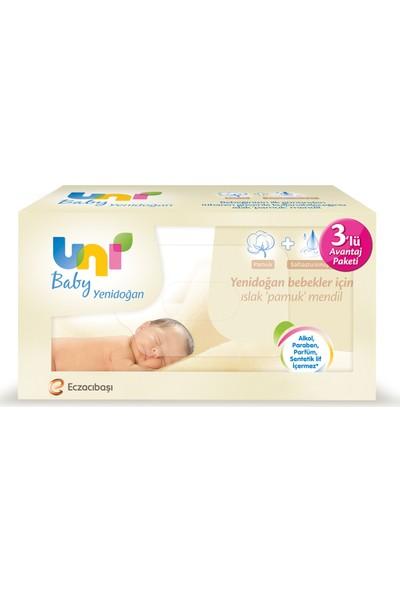 Uni Baby Yenidoğan Islak Pamuk Mendil 3'lü Fırsat Paketi / 120 Yaprak