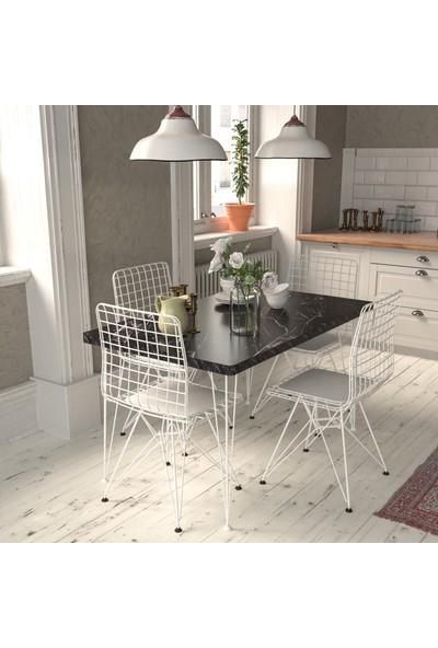 Mobildeco Ulus Yemek Mutfak Masası Beyaz Tel Sandalye Takımı