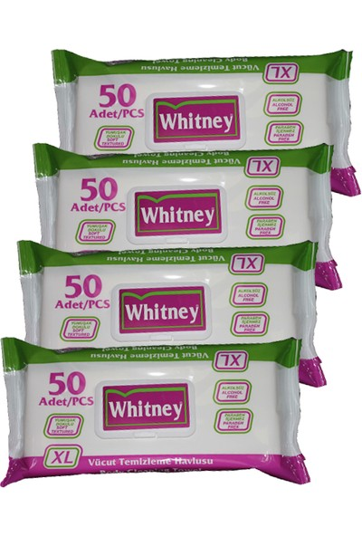 Whitney Hasta Vücut Temizleme Mendili 50'Li 4 Paket 200 Yaprak