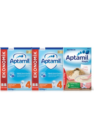 Aptamil 4 1200gr. 2li Ekonomik Paket + Aptamil Sütlü Pirinçli 500 gr. Hediyeli