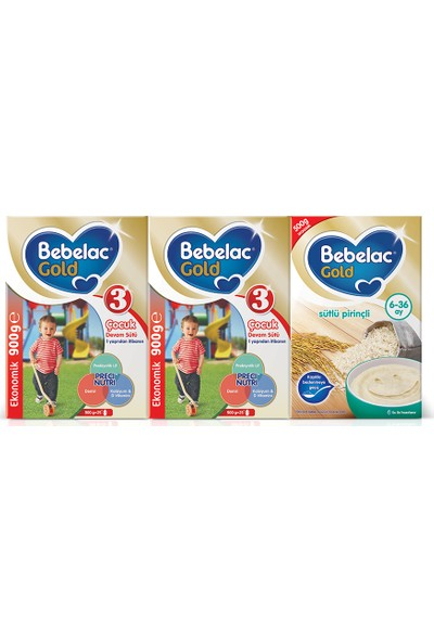 Bebelac Gold 3 900 gr. 2li ekonomik paket + Bebelac Gold Sütlü Pirinçli 500 gr. Hediyeli