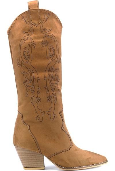 Eşle 9K005782 Kadın Topuklu Çizme Taba