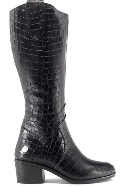 Mammamia D19KC-2020-1 Kadın Deri Topuklu Çizme Siyah