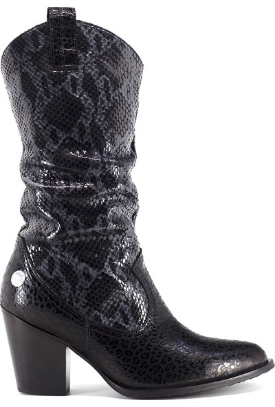 Mammamia D19KC-2040 Kadın Deri Topuklu Çizme Siyah - Gri