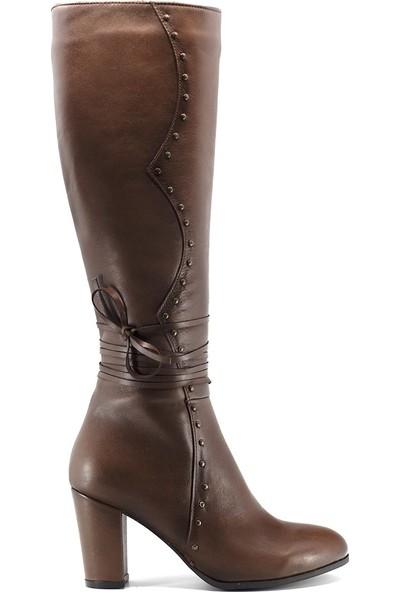 Eşle 9K-7255 Kadın Deri Topuklu Çizme Kahverengi Koyu