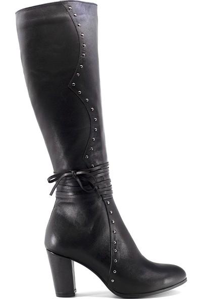 Eşle 9K-7255 Kadın Deri Topuklu Çizme Siyah