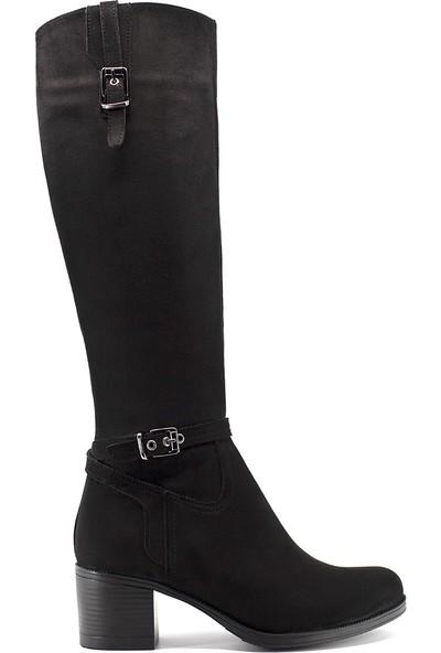 Eşle 9K-9007-1 Kadın Deri Topuklu Çizme Siyah