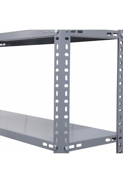 Rafburada 5 Katlı 3'lü Bitişik Galvaniz Çelik Raf