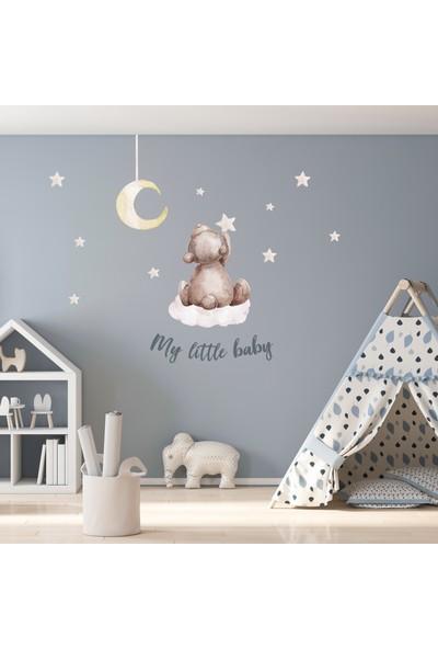 Sim Tasarım Minik Ayıcık ve Yıldızlar Duvar Sticker Seti