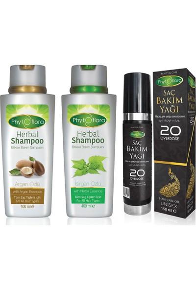 Phytoflora Saç Bakım Seti (Argan Şampuanı + Isırgan Şampuanı + Saç Bakım Yağı)