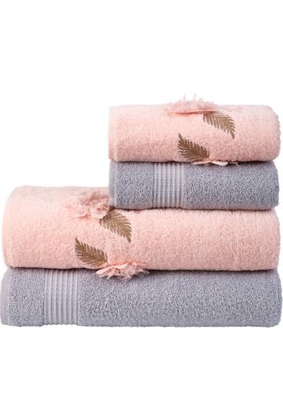 Nurpak Pamir Gri Pudra 4'lü Banyo Havlu Takımı