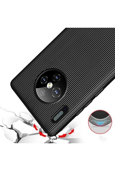 Case Street Huawei Mate 30 Pro Kılıf Çizgili Trio Silikon Koruma + Nano Glass Ekran Koruyucu Kırmızı