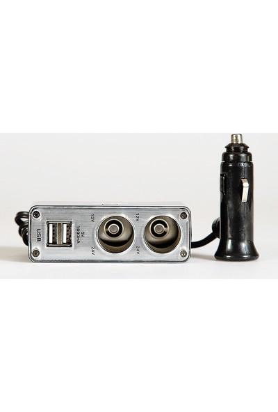 Space USB'li 3'lü Işıklı Çakmak Soketi / ICCA76