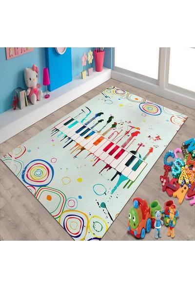 Herms Piyano Ve Gitar Desenli Kaymaz Taban Çocuk Odası Halısı 70x120
