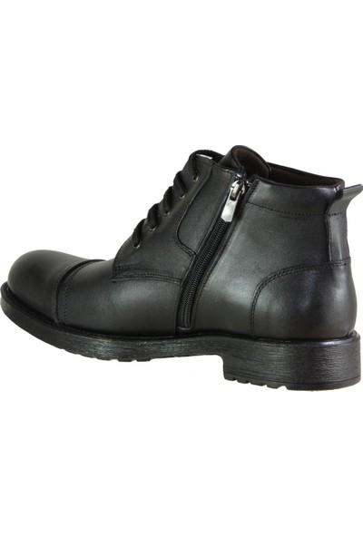 Ayakkabı Burada 102 Ortopedi Hakiki Deri Siyah Erkek Bot Ayakkabı