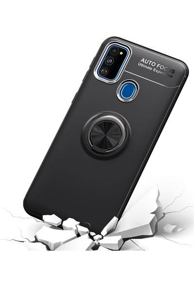 KNY Samsung Galaxy M30S Kılıf Ultra Koruma Yüzüklü Manyetik Ravel Silikon+Nano Cam Ekran Koruyucu