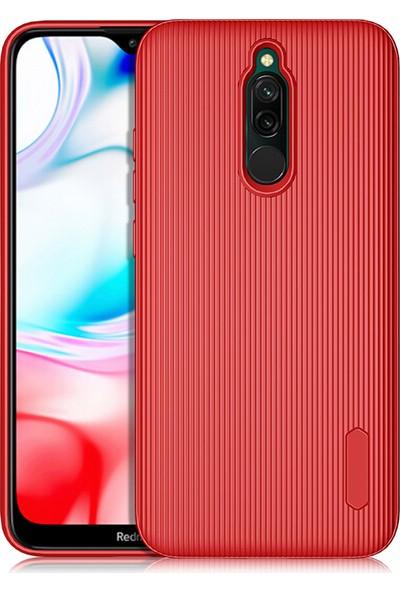KNY Xiaomi Redmi 8 Kılıf Ultra Korumalı Çizgili Line Silikon+Nano Cam Ekran Koruyucu