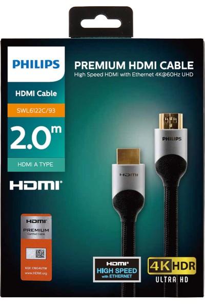 Philips Premium SWL6122C/93 HDMI Altın Uçlu 4K Ultra HD Kablo 2 mt - Siyah
