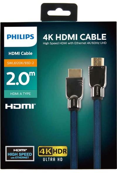 Philips SWLSWL6120K/93D HDMI Altın Uçlu 4K HDR Ultra HD Kablo 2 mt - Mavi