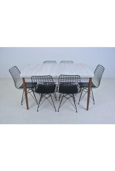 Mobildeco Lida 6 Kişilik Açılır Kelebek Yemek Masası Tel Sandalye Takımı