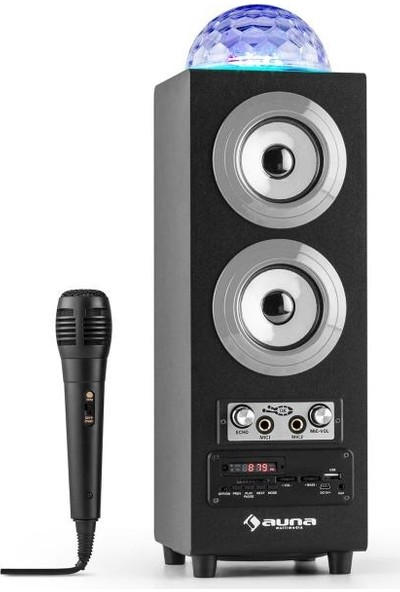 Auna Discostar Taşınabilir Karaoke Mikrofonlu Bluetooth Hoparlör