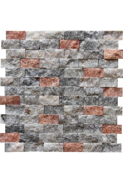 Füme Pembe 23 X 48 mm Patlatma Doğal Taş Traverten Mermer Duvar Kaplama Fileli Mozaik