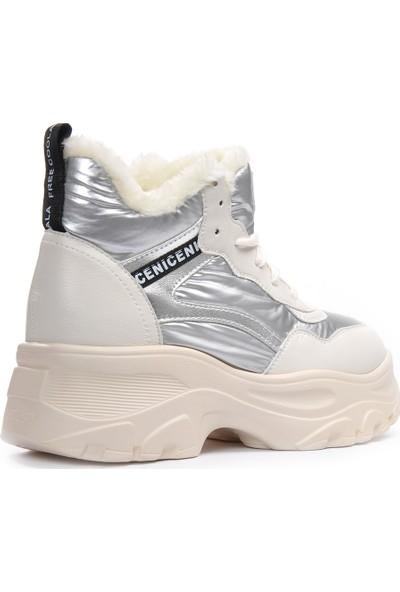 Vizon Ayakkabı Kadın Gümüş Spor Ayakkabı VZN19-075K