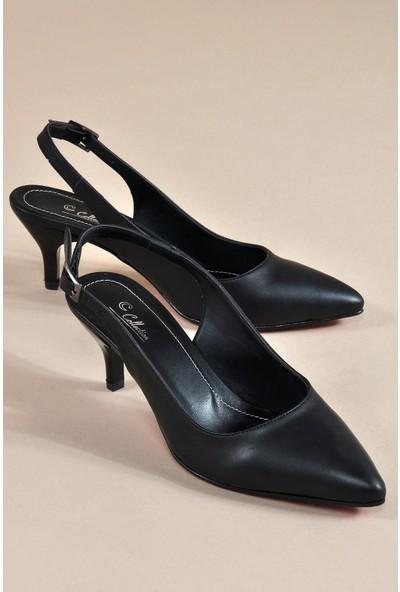 Vizon Ayakkabı Kadın Siyah Klasik Topuklu Ayakkabı VZN19-096K