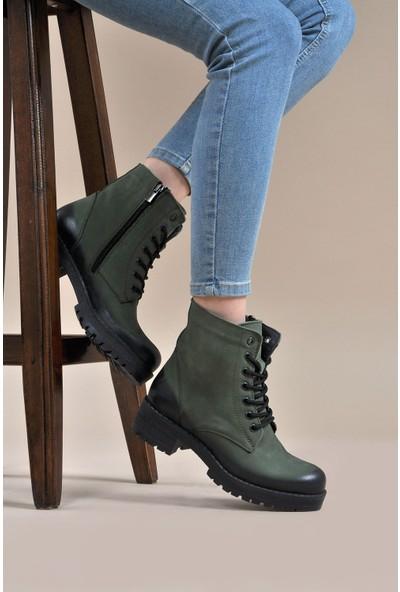 Vizon Ayakkabı Kadın Haki -Nubuk Bot VZN19-019K