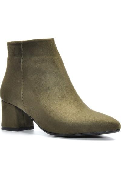 Vizon Ayakkabı Kadın Haki-Süet Bot VZN19-067K