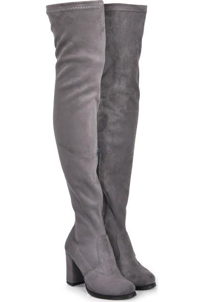 Vizon Ayakkabı Kadın Gri-Süet Çizme VZN19-108K
