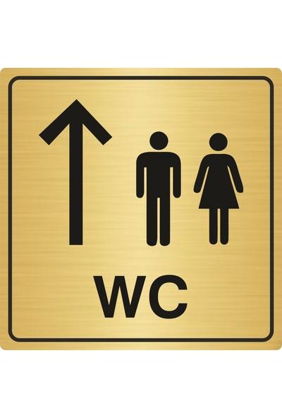 Gift Box WC Yönlendirme Levhası Erkek Kadın 15 x 15 cm Altın