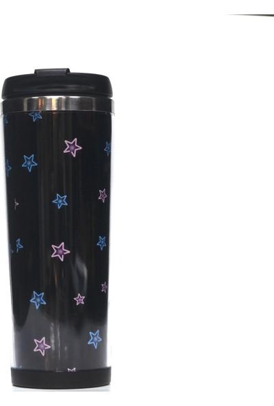 Poyener Içi Çelik Hediyelik Yıldız Tasarımlı Termos Bardak Mug 350 ml